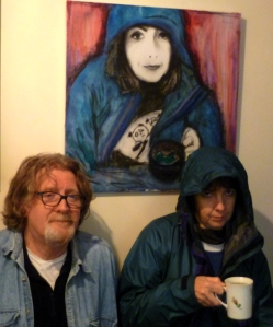 Brian with his painting of Vicky and the real thing