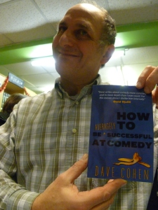 Dave Cohen with his new book at last night's launch