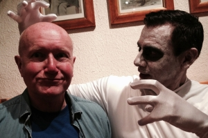 David McGillivray accosted yesterday by Halloween ghoul