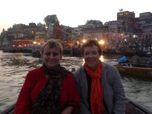 Charmian and Kaye on the Ganges in Varanasi