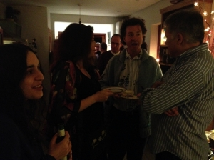 Heather (left) at yesterday's party while Lewis Schaffer schmoozes with Karen O Novak & husband