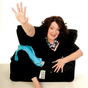 Janey Godley in suitcase