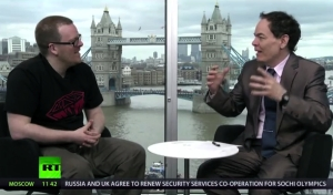 Max Keiser (right) interviews comedian Frankie Boyle on Russia Today