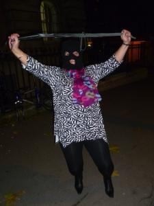 Machete Hettie celebrates in a Clerkenwell street last night