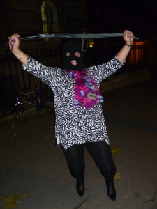 Machete Hettie celebrates in a Clerkenwell street last night