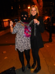 Machete Hettie (left) and Sarah Higgins in a street in Clerkenwell, London last night