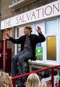 Martin Soan uplifted outside the Salvation Army in Nunhead