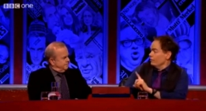 Max with Ian Hislop on Have I Got News For You