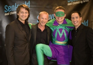 Mr Methane pictured with Thomas Numme, Author - Jo Nesbo & Harald Ronneberg on a previous visit to the show.