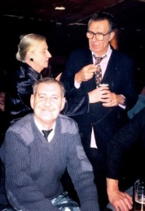 2004: Chris Luby (foreground) at the Wibbley Wobbley with Malcolm Hardee and Malcolm's mum Joan. All are now dead. So it goes.