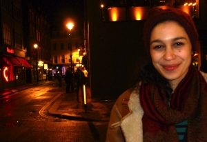 Danusia on her way to Soho Theatre last night