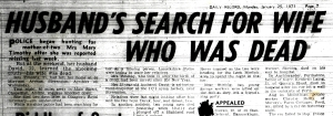 The Daily Record report on Timothy's mother's death in 1971