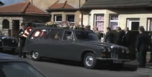 The funeral car for Arthur Thompson Junior