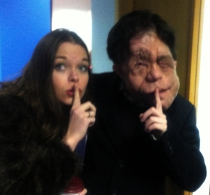 Juliette filming with Adam Pearson