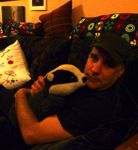 Lewis Schaffer with a cuddly badger on New Year's Eve