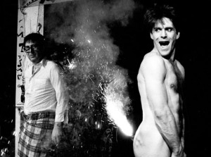 At the Tunnel, Malcolm Hardee (left) and Chris Lynam with a firework up his bum. CREDIT Geraint Lewis