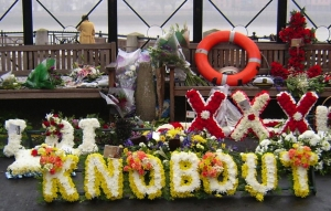 Funeral wreaths at Malcolm Hardee's funeral