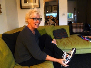 Jenny Eclair at home, chatting to me about getting a foot up