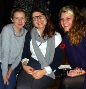 Malcolm's daughter Poppy (centre) with friends last night