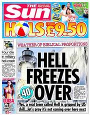 The Sun newspaper's headline yesterday