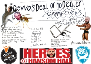 Devvo's self-designed poster for Dave's Leicester Comedy Festival