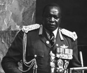 Idi Amin addressing the United Nations General Assembly in New York in 1975