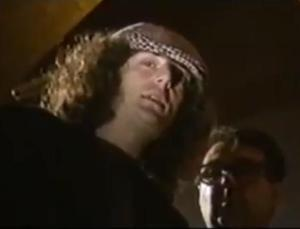 Comedian Jerry Sadowitz (left) in Malcolm Hardee: 25 Years in Showbusiness, a 1990 show I produced for Noel Gay/BSB