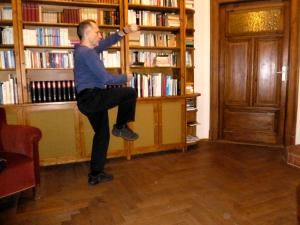 Nick Revell practises Tai Chi in the Pull The Other One flat in Leipzig