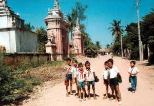 Schoolchildren - not yet Mouseketeers - in Phnom Penh, Cambodia, in 1989