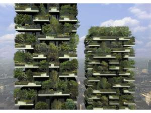 Bosco Verticale (Vertical Forest) in Milan under construction. It will host 900 trees. Designed by Boeri Studio.