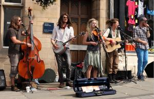 Coco and The Butterfields busking in Durham