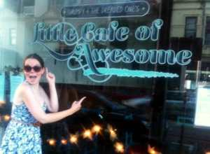 Juliette Burton outside the Little Cafe of Awesome today