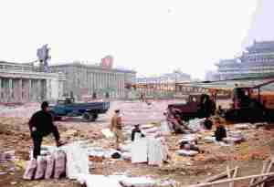 Kim Il-sung Square in Pyongyang, North Korea being re-paved on 29th March 1986