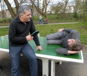 Lewis Schaffer (lefty) exercising in the park yesterday with Martin Soan
