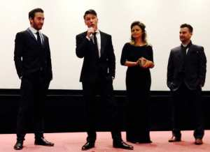 (From left) Philip McGinley, Ben Cookson, Emily Atack, Mark Stobbart on stage before last night's Almost Married premiere