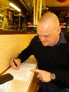 Al Murray writing in Soho last week