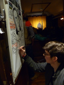 Peter Morey drawing as Simon Munnery performed