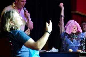 Juliette defeats Richard Herring in Russian Egg Roulette at last year's Malcolm Hardee Comedy Awards Show (Photo by Keir O'Donnell)