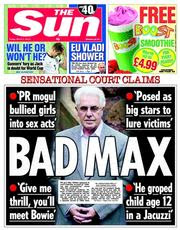Front page of today's Sun newspaper