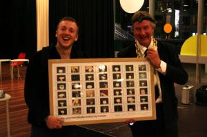 The Iceman with his 42-block photo at the Royal Festival Hall