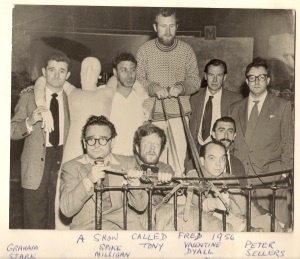 A Show Called Fred (from left). Top row: Graham Stark, Spike Milligan, Tony Gray, Valentine Dyall, Peter Sellers. Bottom row: Kenneth Connor, Douglas Gray, Johnny Vyvyan, Mario Fabrizi