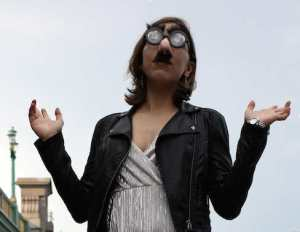 The woman called Polly Trope in her Groucho Marx disguise (Photograph by Joe Palermo)