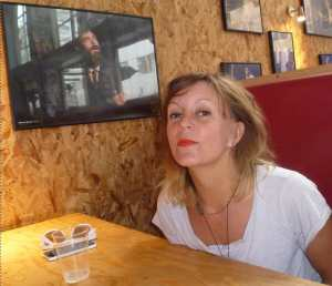 Adrienne in the Soho Theatre bar yesterday