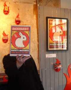 DRB, the faceless artist at his Firerstarter yesterday