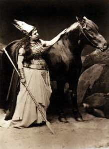 Amalie Materna, the first Bayreuth Brünnhilde, with Cocotte, the horse donated by King Ludwig to play her horse Grane