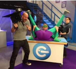 Mr Methane on The Gadget Show with cameramen Rob Shaw & Mark Tredinnick of Mediadoghire.