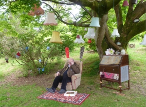I relax in the grounds of Muncaster Castle yesterday (Photograph by my eternally-un-named friend)