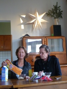Vivienne and Martin Soan breakfast in Leipzig
