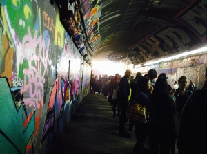 The queue stretch along the tunnel last night