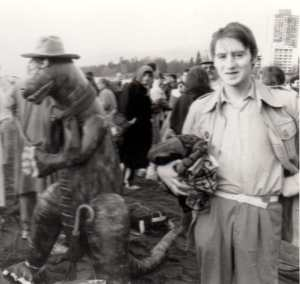 A young Tony Green (right) with unknown monster (Photograph by Anna Smith)